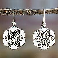 Sterling silver flower earrings, 'Flower of Life'