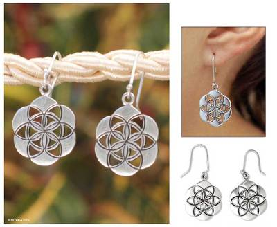 Sterling silver flower earrings, 'Flower of Life' - Handcrafted Floral Sterling Silver Dangle Earrings