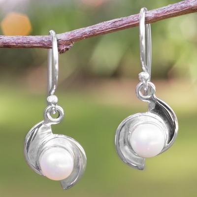 Pearl dangle earrings, 'Taxco Pinwheels' - Fair Trade Modern Fine Silver and Pearl Dangle Earrings