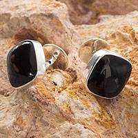 Obsidian cufflinks, 'Night Magic'
