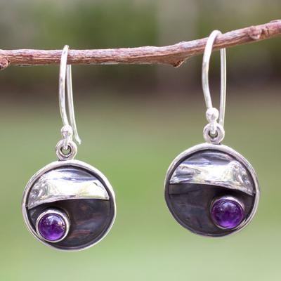 Amethyst dangle earrings, 'Taxco Dusk' - Amethyst and Silver 950 Handmade Mexican Dangle Earrings