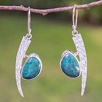 Chrysocolla dangle earrings, 'Sweet Fruit' - Chrysocolla dangle earrings