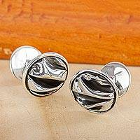 Novica Silver cufflinks, The Sierra - Unique Modern Fine Silver Cufflinks