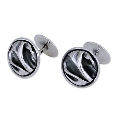 Silver cufflinks, 'The Sierra' - Unique Modern Fine Silver Cufflinks