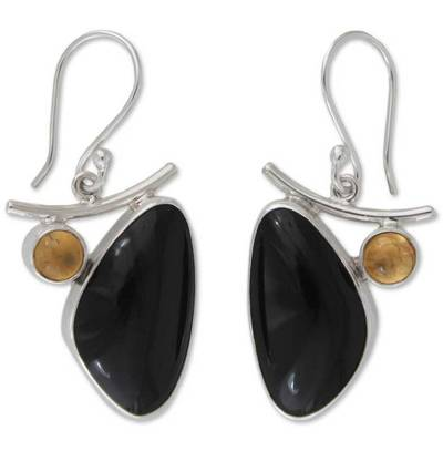 Obsidian and citrine dangle earrings
