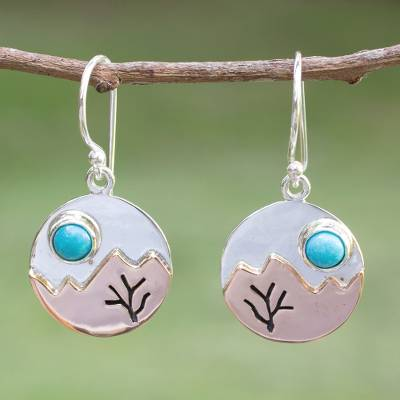 Turquoise dangle earrings, Taxco at Dusk