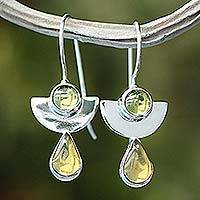 Amber and peridot drop earrings, 'Dreams' - Amber and peridot drop earrings