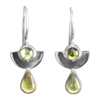 Amber and peridot drop earrings