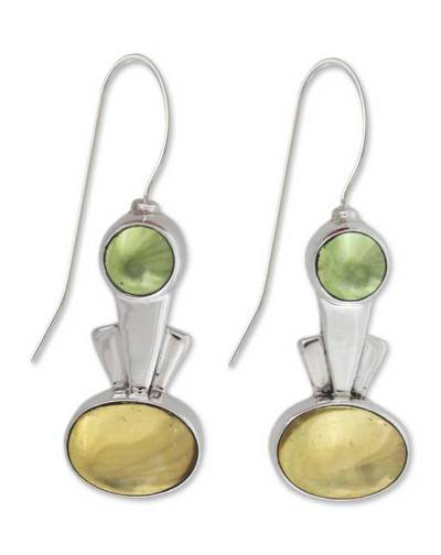 Amber and peridot drop earrings, 'Perpetual Glow' - Amber and peridot drop earrings