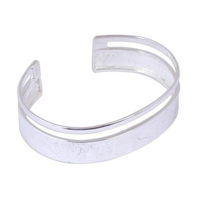 Sterling silver cuff bracelet, 'Silver River' - Unique Taxco Silver Cuff Bracelet