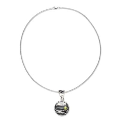 Peridot pendant necklace, 'Taxco Dawn' - Taxco Silver Pendant Peridot Necklace