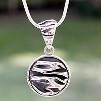 Silver pendant necklace, 'The Sierra' - Modern Fine Silver Pendant Necklace