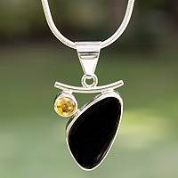 Obsidian and citrine pendant necklace, 'Dewdrop' - Modern Citrine and Obsidian Necklace from Mexico
