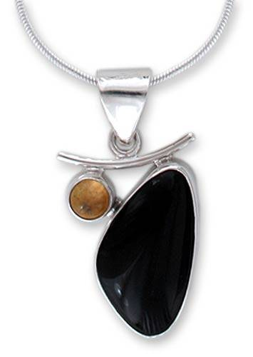 Obsidian and citrine pendant necklace, 'Dewdrop' - Artisan Crafted Taxco Silver Obsidian and Citrine Necklace
