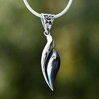 Silver pendant necklace, 'Sinuous' - Fair Trade Mexican Modern Fine Silver Pendant Necklace