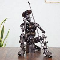 Auto parts sculpture, 'Ingenious Don Quixote'