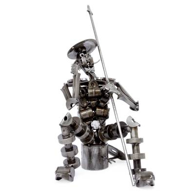 Auto parts sculpture, 'Ingenious Don Quixote' - Auto parts sculpture