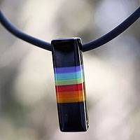 Dichroic art glass pendant necklace, 'Radiant Night' - Colorful Layered Dichroic Glass Choker from Mexico