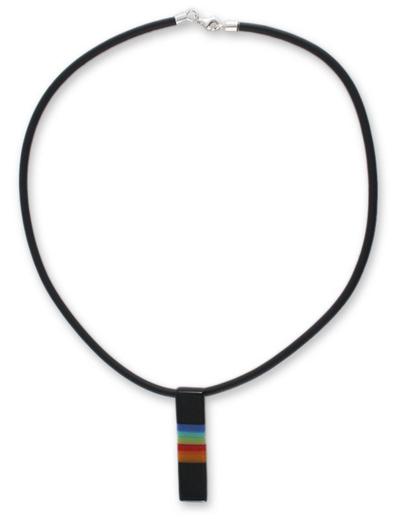 Dichroic art glass pendant necklace, 'Radiant Night' - Dichroic art glass pendant necklace