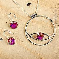 Art glass jewelry set, 'Infinite Color' - Women's Modern Art Glass Sterling Silver jewellery Set