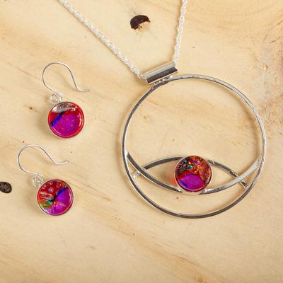 Art glass jewelry set, 'Infinite Color' - Women's Modern Art Glass Sterling Silver jewellery Set