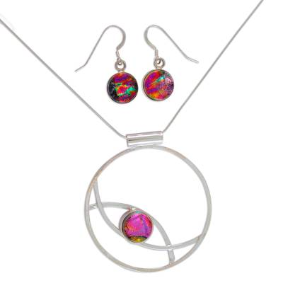 Art glass jewelry set, 'Infinite Color' - Women's Modern Art Glass Sterling Silver Jewelry Set