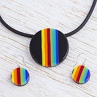Dichroic art glass jewelry set, 'Midnight Horizon' - Fair Trade Modern Dichroic Glass Jewelry Set