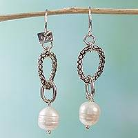 Pearl dangle earrings, 'Wild Beauty' - Mexican Taxco Silver Pearl Earrings