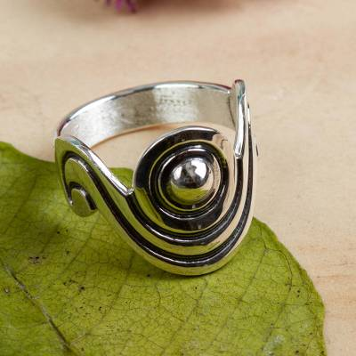 Sterling silver cocktail ring, 'Sensuous' - Unique Taxco Silver Band Ring