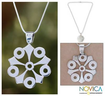 Sterling silver pendant necklace, 'Taxco Mandala' - Taxco Silver Pendant Necklace