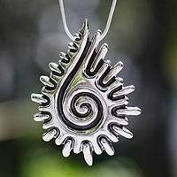 Sterling silver pendant necklace, 'Aztec Seashell' - Fair Trade Sterling Silver Pendant Necklace
