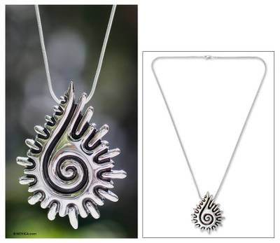 Sterling silver pendant necklace, 'Aztec Seashell' - Handcrafted Sterling Silver Pendant Necklace