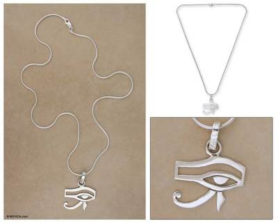 Sterling silver pendant necklace, 'Eye of Horus' - Women's Taxco Silver Sterling Pendant Necklace