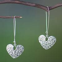 Sterling silver dangle earrings, 'Hearts and Flowers' - Romantic Sterling Silver Dangle Earrings from Mexico