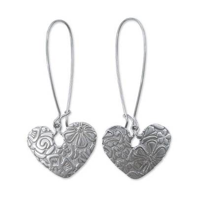 Sterling silver dangle earrings, 'Flowers and Hearts' - Romantic Sterling Silver Dangle Earrings from Mexico