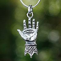 Sterling silver pendant necklace, 'Hand of Hamsa'