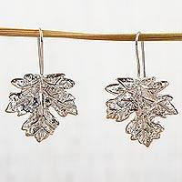 Sterling silver drop earrings, 'Maple Leaf' - Handcrafted Taxco Silver Drop Earrings