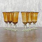Handblown Glass Wine Goblets from Mexico (Set of 6), 'Golden Glow'