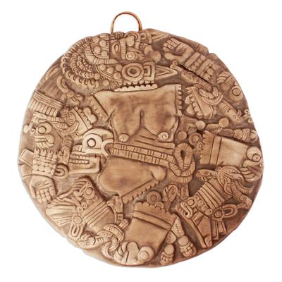 Ceramic wall plaque, 'Aztec Moon Goddess' - Collectible Archaeological Replica Mexico Ceramic Plaque