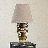 Ceramic table lamp, 'Land of the Aztec' - Hand Crafted Mexican Ceramic Table Lamp