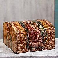 Decoupage decorative box, 'Guadalupe Mosaic' - Decoupage decorative box