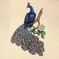 Steel wall art, 'Sapphire Peacock' - Unique Bird Wall Sculpture