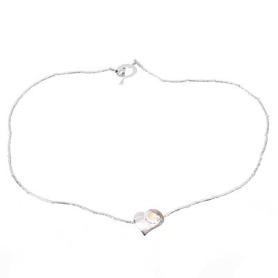 Sterling silver heart necklace, 'Sunny Heart' - Sterling silver heart necklace