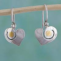 Sterling silver heart earrings, 'Sunny Heart' - Sterling Silver and 24k Gold Dangle Earrings from Mexico