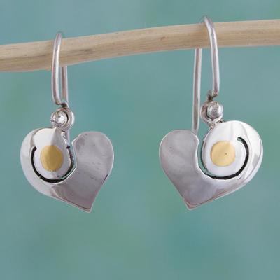 Sterling silver heart earrings, 'Sunny Heart' - Romantic Sterling Silver and 24k Gold Earrings Mexico