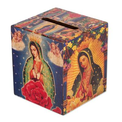Decoupage square tissue box, 'My Guadalupe' - Decoupage square tissue box