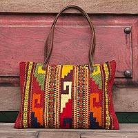 Wool and leather handbag, 'Zapotec Splendor' - Wool and leather handbag
