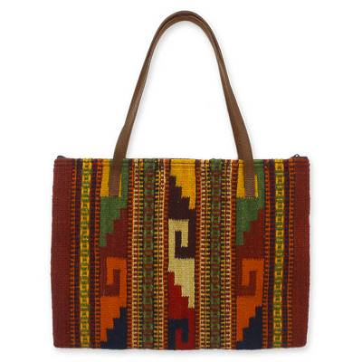 Wool and leather handbag, 'Zapotec Splendor' - Wool and leather handbag
