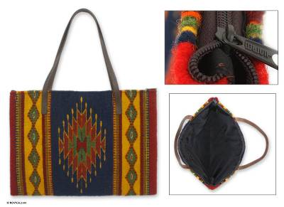 Wool and leather handbag, 'Zapotec Traditions' - Wool and leather handbag