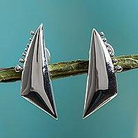 Silver drop earrings, 'Equilibrium' - Fair Trade Modern Fine Silver Button Earrings